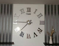 Часы на стену большие с римскими цифрами (диаметр 1 м) серебристые B-05-S-SILVER