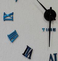 Часы настенные офигенного диаметра с римскими цифрами (диаметр 1 м) с зеркальной поверхностью синие B-05-B-BLUE