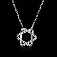 Колье женское кулон Звезда Давида покрытие серебро
