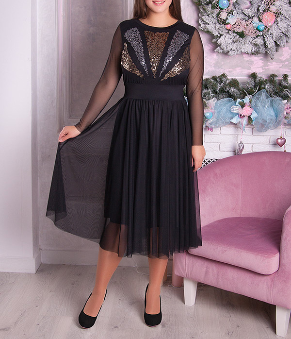 """Шикарное коктейльное платье """"Шанталь"""" для полных женщин"""