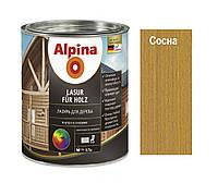 Лазурь-лак алкидный ALPINA LASUR FUR HOLZ для древесины, сосна, 0,75л