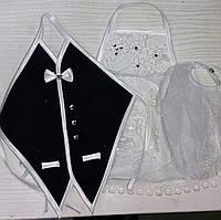 Одежки для свадебного шампанского (бело-черные)