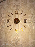 Часы интерьерные настенные с римскими цифрами (диаметр 0,35 - 0,5 м) золотые M-02-G-GOLD