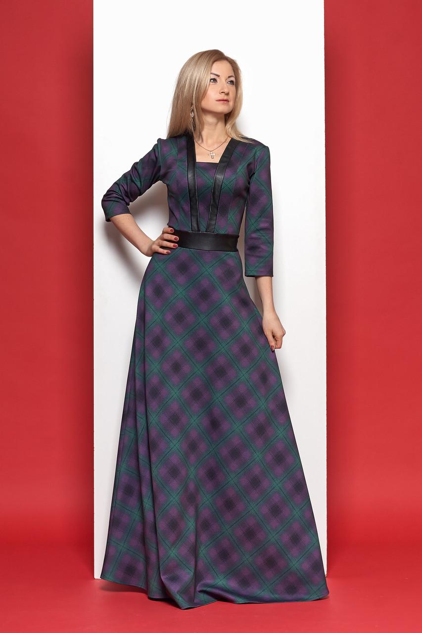 Красивое, длинное нарядное платье в клетку р 44,46,50
