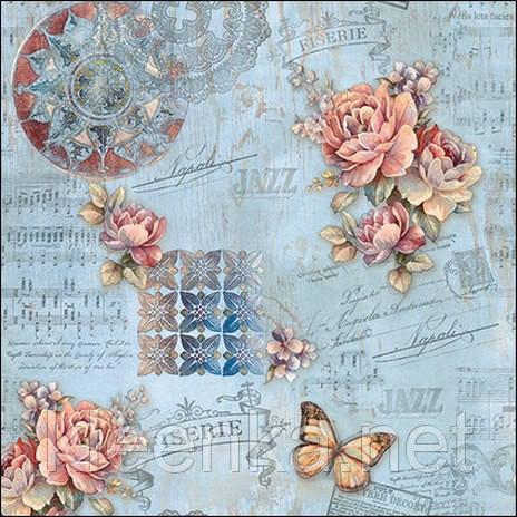 Стильная скатерть с розами и бабочками, фото 2