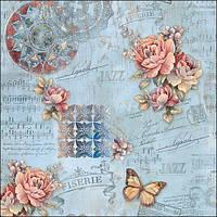 Стильная скатерть с розами и бабочками