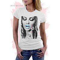 Женская белая футболка с рисунком Pop Art GIRL Lollipop