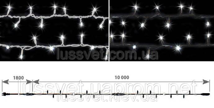 Светодиодная гирлянда нить с мерцанием DELUX STRING FLASH 100LED 10м белая (бел./черн. кабель)