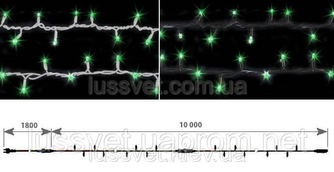 Гирлянда-нить внешняя с эффектом мерцания DELUX STRING FLASH 100LED 10м зеленая (бел./черн. кабель)