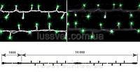 Гирлянда-нить внешняя с эффектом мерцания DELUX STRING FLASH 100LED 10м зеленая (бел./черн. кабель), фото 1