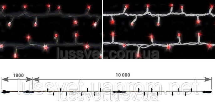 Светодиодная нить гирлянда с эффектом мерцания DELUX STRING FLASH 100LED 10м красная (бел./черн. кабель)