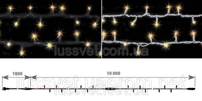 Светодиодная гирлянда-нить с мерцанием DELUX STRING FLASH 100LED 10м желтая (бел./черн. кабель)