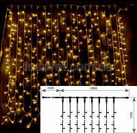 Светодиодная штора гирлянда DELUX CURTAIN 456LED  2*1,5м тепл.белая (бел. кабель), фото 1