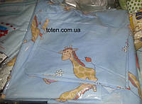 Комплект сменного постельного белья 3 в 1 бязь голубенький жираф