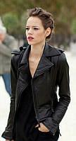 Куртка женская короткая из экокожи на молнии P5464