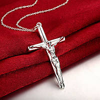 "Кулон женский крестик на цепочке ""Hes... Jesus"" покрытие стерлинговое серебро"