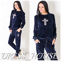 Женский модный велюровый костюм с крестом