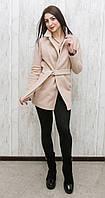 Модное женское короткое пальто из трикотажного кашемира оригинального фасона коричневое, серое