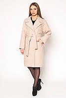Элегантное женское пальто средней длины классического кроя бежевое, темно-синее, шоколад