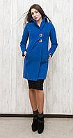 Стильное женское пальто оригинального кроя с необычным воротником и декоративными пряжками черное, кемел, синее, бежевое