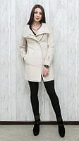 Модное женское пальто из комбинированного материала с воротником стойкой и поясом в комплекте светлый беж, красное, черное, синее