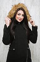Комфортное женское короткое пальто на затежке змейке спортивного кроя с капюшоном черное с серой опушкой, черное с рыжей опушкой, темно-синее с серой