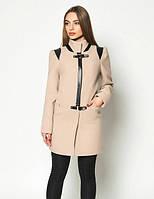 Необычное женское пальто из кашемира со вставками экокожи светлый беж, темный беж