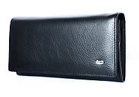 Классический матовый черный кожаный кошелек ST (15103)