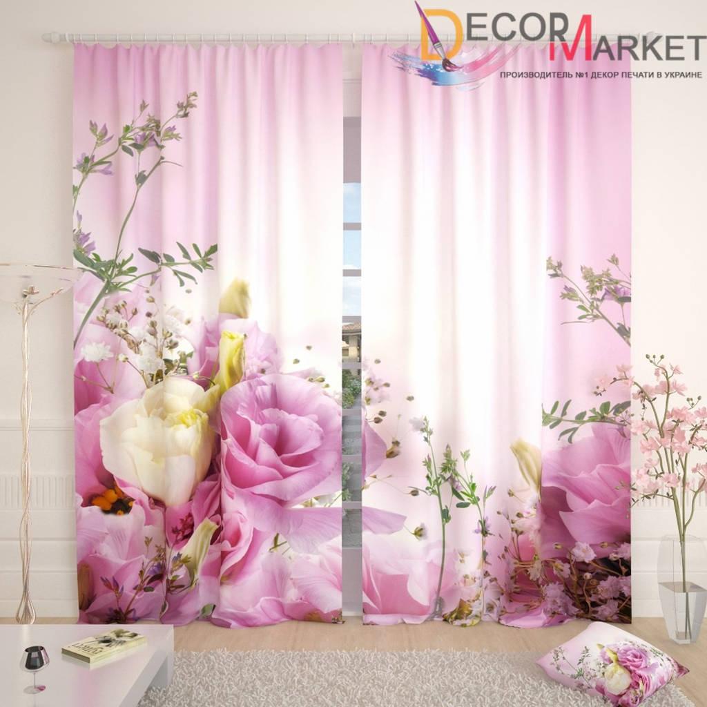 Фотошторы 3д розы на розовом фоне