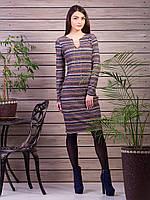 Трикотажное платье в горизонтальную цветную полоску
