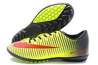 Сороконожки подростковые Nike Mercurial желто-черные (найк меркуриал)