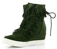 Зелёные,модные женские  сникерсы