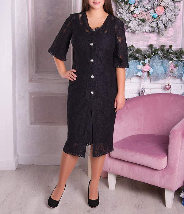 """Красивое гипюровое платье двойка """"Жанетта"""" размеры от 42 по 70"""