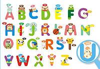 Интерьерная наклейка в детскую комнату Английский Алфавит зверюшки