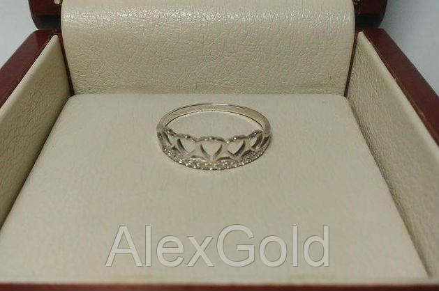Кольцо корона серебро с сердцем