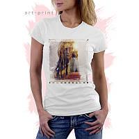 Женская белая футболка с рисунком Scenic Landscape