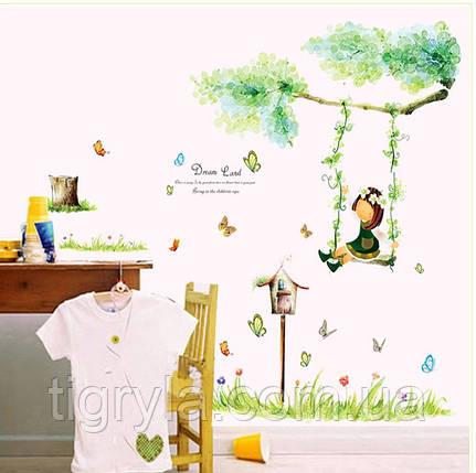 Детская Интерьерная наклейка Девочка на качелях, фото 2