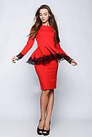 Женское стильное платье с баской и кружевом (2 цвета), фото 1