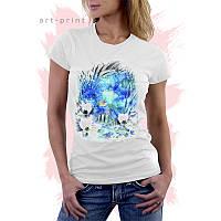 Женская белая футболка с рисунком АКВАРИУМ