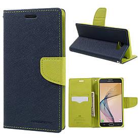 Чехол книжка для Samsung Galaxy J7 Prime G610 боковой с отсеком для визиток, Mercury GOOSPERY, Синий