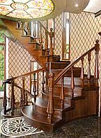 Лестница винтовая, гнутые перила, балюстрада, резные элементы, фото 1