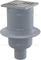 Трап с гидрозатвором Alca Plast APV32 (нерж. крышка) прямой 105х105 мм Ф 50 SMART