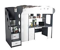 Детский гарнитур, комплект мебели из МДФ (кровать + шкаф+ стол, высота 192 см)