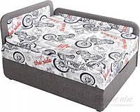 Детская кровать диван выдвижная с нишей для белья серая левая
