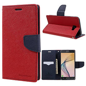 Чехол книжка для Samsung Galaxy J7 Prime G610 боковой с отсеком для визиток, Mercury GOOSPERY, Красный