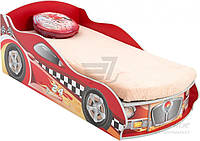 Детская кровать машина красная  с нишей для белья и подьемным механизмом матраса 80x160 см