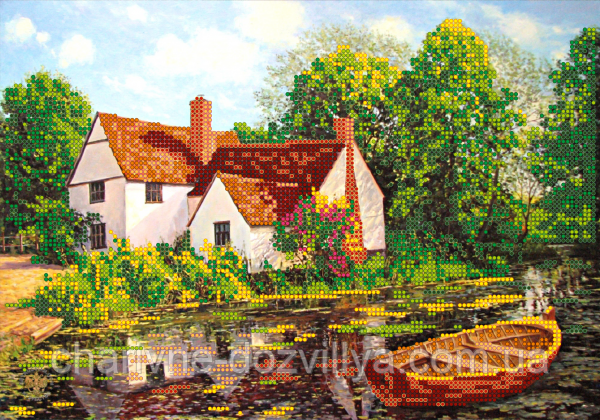 """Схема для вишивання бісером на атласі """"Будиночок біля озера"""""""