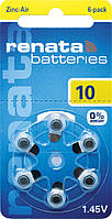 Батарейки для слуховых аппаратов Renata 10 MF, 6 шт.