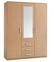 Шкаф 3-х дверный + 3 ящика с зеркалом (цвет бук)