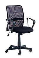 Кресло компьютерное на колесиках черное с тканевой спинкой  с ручками